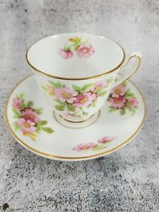 Duchess Cup and Saucer Pink Rose Wild Flower Floral England Bone China Gold Trim