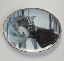 "1998 Jim Dutcher ""Devotion"" Wolves Collectors Plate - Tender Moments 8.5 x 6.5in"