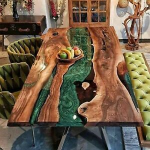 Epoxy Table, Live Edge Natural Wooden Table, Epoxy Resin River Dining Table Top