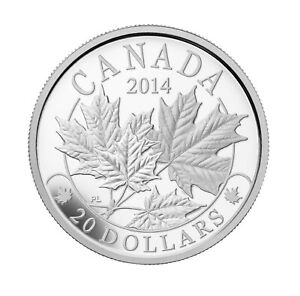 Majestic Maple Leaves (01) - 2014 Canada 1 oz Pure Silver Coin - RCM