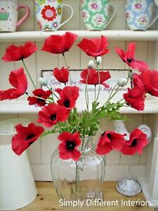 Bunch of Red Artificial Field Meadow Poppies,5 stems,15 Silk Poppy Heads,5 buds