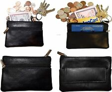 Lot of 4 Leather change purse, Black coin Case, 3 pocket purse, wallet w/ring BN