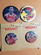 MICHEL JORDAN PIN & MAGNET BUTTON LOT of (4) CHICAGO BULLS
