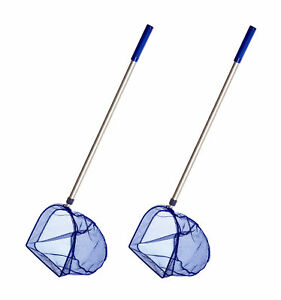 2x Teleskop Kescher für Pool Teich Fisch Netz Kecher Käscher Zubehör 75-120cm