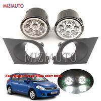 LED For Nissan Versa Tiida 07 08-11 Front Bumper Fog Light Cover Bezel Front Kit