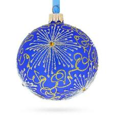 Snowflakes on Blue Glass Ball Christmas Ornament