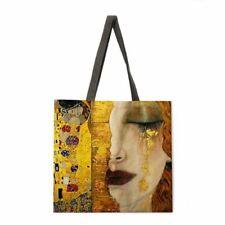Leisure Tote Linen Bag Golden Oil Painting Reusable Shopping Outdoor Beach Bags