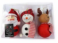 Set of Three Character Christmas Hanging Tree Decorations Santa Snowman Reindeer