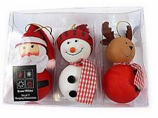 Set of Three Character Christmas Hanging Tree Decorations Santa Snowman Reindeer