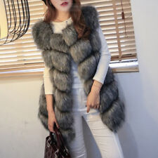 Fashion Faux Fur Womens Jacket Coat Lady Sleeveless Vest Waistcoat Gilet Outwear
