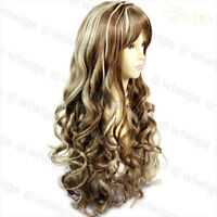 Stunning Sexy Long Wavy Brown mix Blonde Curly Ladies Wigs Skin Top WIWIGS UK