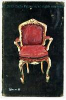 My Red Chair ORIGINAL OIL PAINTING print Louix xiv impressionist gold guilt seat