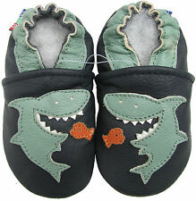 carozoo shark dark blue 18-24m soft sole leather baby shoes