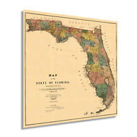 HISTORIX Vintage 1856 Florida State Wall Map