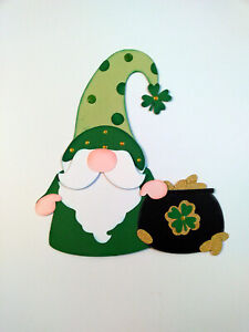 Shamrock Pot of Gold Gnome paper piecing Premade Scrapbook Pages