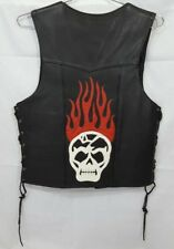 Handmade Leather Custom Skull Flames Men's Biker Vest M
