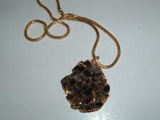 Vintage Black Druzy Quartz Crystal Gold Plated Pendant Necklace in Gift Box