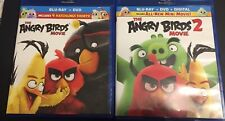 Lot 2: The Angry Bird Movie 1 & 2 (Blu-ray + DVD, No Digital) Like New