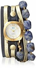 La Mer Collections Women's LM7615 Multi Chain Gold-Tone/Navy Leather Watch