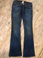 True Religion Joey Jeans Womens Size 25 Flap Pocket Dark Wash Low Rise