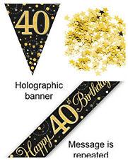 40th Birthday Decoration Kit Banner Bunting Confetti BlackGold Him Her Men Women