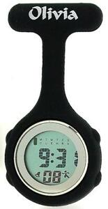 Olivia Collection Black Digital Multi Function Silicone Nurses Fob Watch TOC77