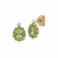 Gemondo 9Ct Oro Amarillo Peridoto & Diamante Oval Racimo Tacha Earings