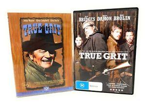 True Grit Original & Remake (DVD, 1969, 2010) John Wayne, Jeff Bridges Bundle R4