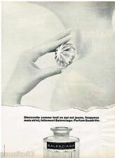 PUBLICITE ADVERTISING 105  1968  BALENCIAGA  parfum femme QUADRILLE