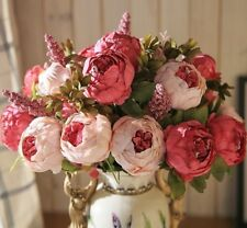 Bouquet Artificial Flowers Peony Flores Fake Silk Rose Bridal Decor Wreath Home