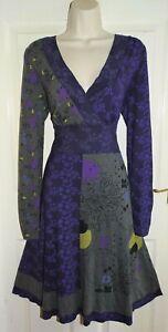 MANTARAY Purple Grey Empire Wrap Autumnal Hippie Gypsy Boho Jersey Dress Size 14