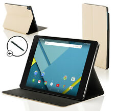 Leather White Clam Shell Case Cover for HTC Google Nexus 9 With Stylus