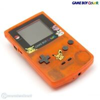 GameBoy Color Konsole orange-transparent Custom Case Pikachu & Pokeball mit neue