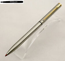 vintage Caran D'Ache Twin Pen (Red BP & Blue BP) in Matte Silver with Gold Clip