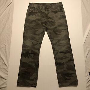 RARE True Religion Bobby 100% Cotton Camo Camouflage Jeans Pants 34X33 34