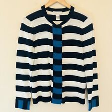 Doncaster Womens Medium Sweater Cardigan Striped Blue White Cotton Snaps 583