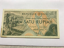 1961 Indonesia 1 Rupiah Farm Workers Gem Unc. #4821