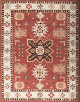 Geometric Kazak Oriental Area Rug Hand-Tufted Wool Rust Living Room Carpet 10x13