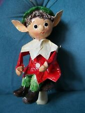 """Vtg Fitz & Floyd Red/Green Paper Maiche' Elf/Pixie Large Christmas Ornament 5.5"""""""