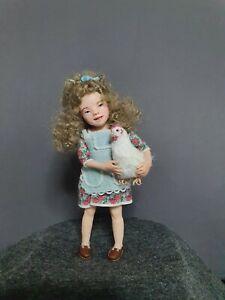 OOAK dollhouse doll 1:12,   miniature,  artist doll,  handmade