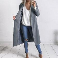 UK Stock Womens Winter Warm Wool Long Coats Parka Jacket Padded Overcoat Plus 26 Grey 10-12
