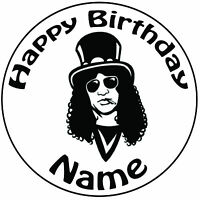 Personalised Slash Guns N Roses Icing Cake Topper Round Easy Pre Cut
