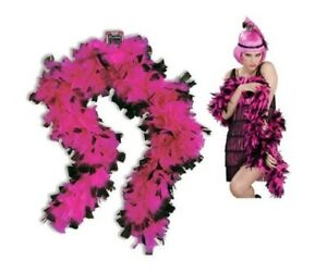 Boa - Pink with Black Tips - 1920's 1980's - Costume Accessory