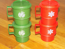 4 Tupperware Red & Green Cups with Coasters Snowflake Dove Holiday Made in U.S.A