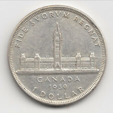 1939 Canadian Silver Dollar, King George VI,