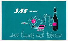 1950s SAS Alcohol Price List WINES LIQUORS and TOBACCO Advert Printed in Denmark