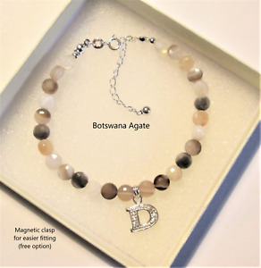 (Choiceof Gemstone)  bracelet with 925 Sterling silver *Initial* charm