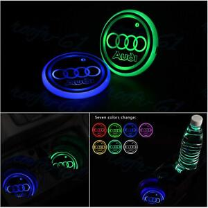 X2 For Audi Car LED Cup Holder Mat Pad Colorful Interior Atmosphere Lights New