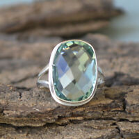 Cushion Green Apatite Quartz 925 Sterling Silver Artisan Handmade Gift Ring