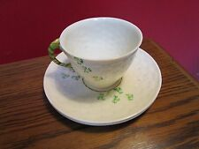 Belleek Shamrock Cup and 2 Saucers, green stamp [*89]